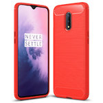 Flexi Slim Carbon Fibre Case for OnePlus 7 - Brushed Red